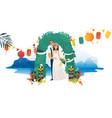 marriage ceremony on hawaii coast - young bride vector image vector image
