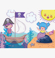 mermaid woman and pirate boy in the ship vector image