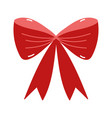 merry christmas red gift bow decoration icon vector image
