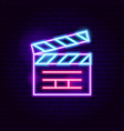 movie clapper neon sign vector image vector image