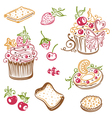 muffins donuts cakes sweets vector image vector image