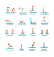 on isolated white background set poses yoga vector image
