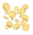 realistic gold coin explosion or splash on white vector image vector image
