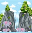 scene with elephants at the waterfall vector image