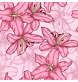seamless background with pink lily vector image vector image