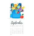 september 2018 year calendar page vector image