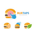 set of burger logo combination hamburger and vector image vector image