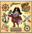 set pirate cartoon collection vector image vector image