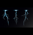 set realistic lightning on vector image vector image