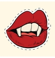 Sexy Halloween vampire mouth female label sticker vector image vector image