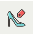 Shoe with tag thin line icon vector image vector image
