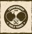 table tennis vintage round emblem vector image vector image