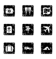 Trip to sea icons set grunge style vector image vector image