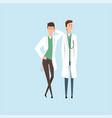 two smiling doctors characters medical staff vector image