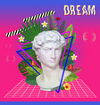 vaporwave statue with flowers and leaves 3d vector image vector image