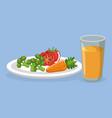 vegetables and juice delicious food breakfast menu vector image