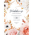 watercolor style fall floral wedding invite card vector image vector image