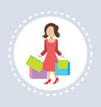 woman hold colorful packages paper bags shopping vector image