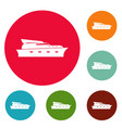 yacht icons circle set vector image