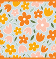 yellow orange and pink flowers on mint background vector image vector image