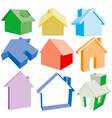 3 dimensional house icons vector image vector image