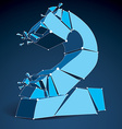 Abstract low poly wrecked number 2 with lines and vector image vector image