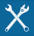 adjustable wrench and combo wrench crossed icons vector image vector image