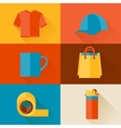 Advertising background with promotional gifts and vector image vector image