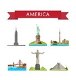 American travel set with famous attractions vector image vector image