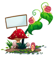 An empty signboard near the plants with snails vector image vector image