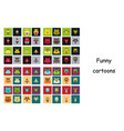 Assembly of flat icons on theme funny animals