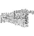 beach birthday party ideas text word cloud concept vector image vector image