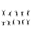 black and white silhouettes jumping happy and vector image vector image