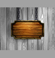 blank wooden signboard hanging on chain isolated vector image