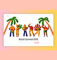 brazil carnival party character dance landing page vector image vector image