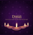 burning diya for diwali festival celebration vector image vector image