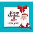 card santa merry christmas design vector image