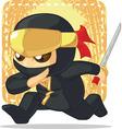 cartoon ninja holding japanese sword vector image vector image