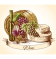 Cheese wine and bread background vector image vector image