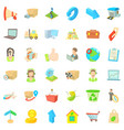 complete set icons set cartoon style vector image vector image