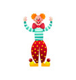 cute and funny circus clown with red nose and big vector image vector image