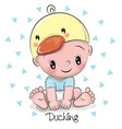 cute cartoon baby boy in a duckling hat vector image