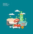 dog in house flat style design vector image vector image