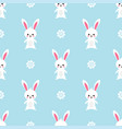 easter rabbit seamless pattern on blue background vector image vector image