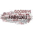 farewell word cloud concept vector image vector image