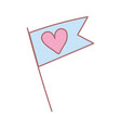 flag love heart romantic feeling cute icon vector image