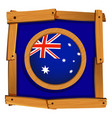 flag of australia in wooden frame vector image vector image