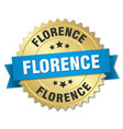 florence round golden badge with blue ribbon vector image vector image