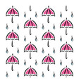 Fun pattern with pink umbrellas and rain on white vector image vector image