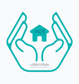 Hand holding house flat logo design safety vector image